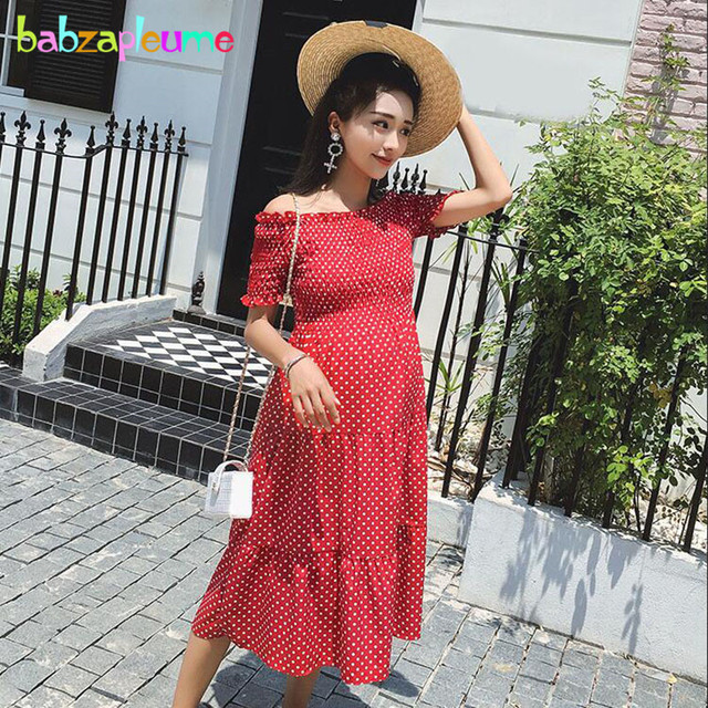 cd01c8fc505be US $19.9 10% OFF|Summer Maternity Dresses For Photo Shoot Pregnancy Clothes  Pregnant Women Plus Size Fashion Dot Shoulderless Beach Dress BC1754-in ...