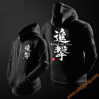 Cool Attack On Titan Hoodie Zip Up Hooded Sweatshirts Mens Boys Black Red Blue Cosplay Costume