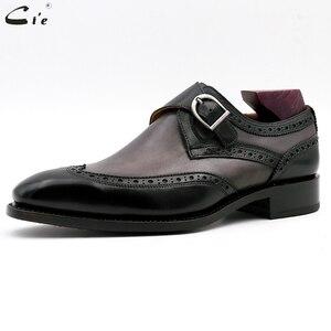 Image 2 - Chaussures en cuir de veau peint à la main, Double bretelles moine, gris et noir, boucle pleine grains, respirantes, pour hommes, cie MS03