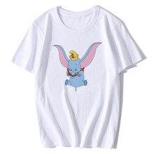 BTFCL Dumbo T Shirt Women Funny Elephant Camiseta Dumbo Print T-Shirt Ladies America Movie Hot T-Shi