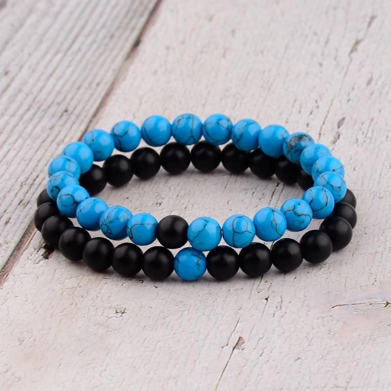 Amader 2PCS/L Distance Bracelet For Women Men Blue&Black Stone Yoga Energy Beaded Couple Bracelets Men Gifts Ladies WAB241