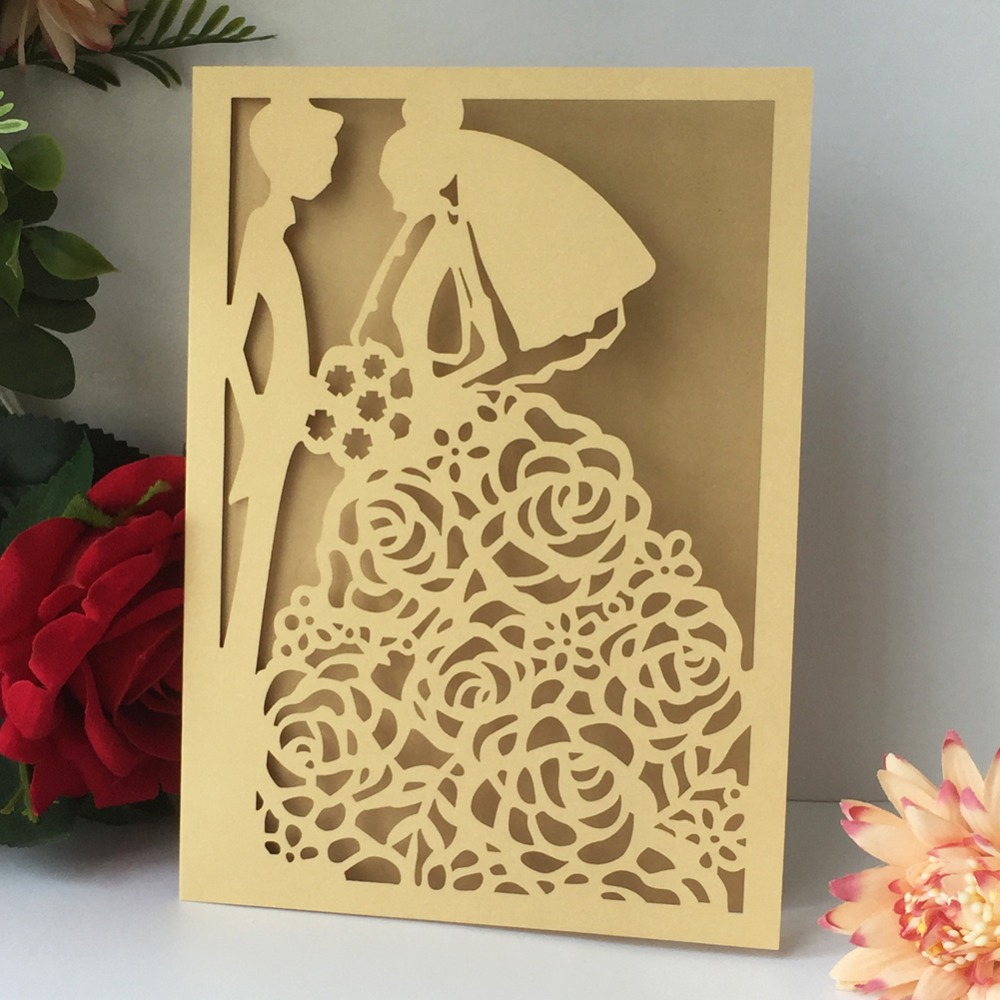 Best Wedding Invitations Cards: 50pcs Laser Cut Bridal&bridalgroom Pattern Chic Design