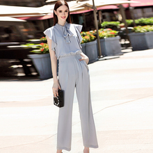 Elegant Jumpsuits 2016 New Summer Novelty Bow Collar Solid Gray Fashion Loose Brief Office Jumpsuits