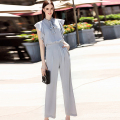 Work Jumpsuits 2016 Summer Solid Sleeve Gray Fashion Novelty Pockets Loose England Style Classic Star Bow Collar Slim Jumpsuits
