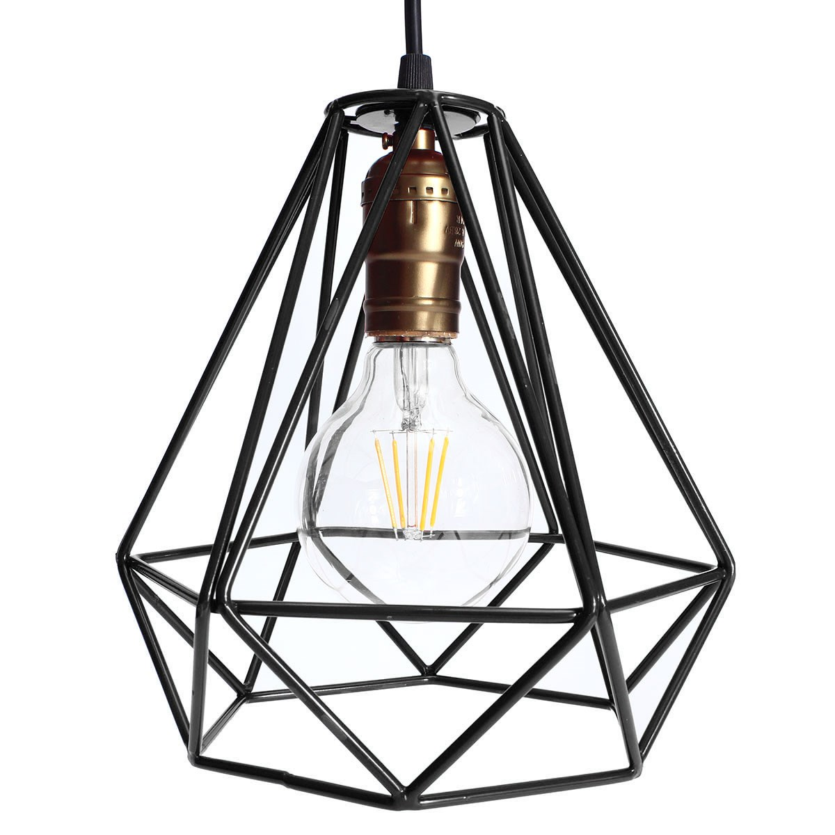 Diamond Metal Wire Frame Ceiling Pendant Light Cage 9