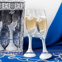 Free Shipping Butterfly Wedding Toasting Flutes Champagne Glasses Wedding Decoration Wedding Supplies All For Wedding