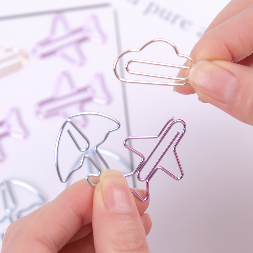12PCS lot Cartoon Shape Mini Paper Clips Kawaii Stationery Clear Binder Clips Photos Tickets Notes Letter Paper Clip Stationery in Clips from Office School Supplies