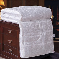 All Season Quilted Comforter Hypoallergenic Mulberry Silk FillMachine Washable Duvet Insert or Stand Alone Comforter White Queen