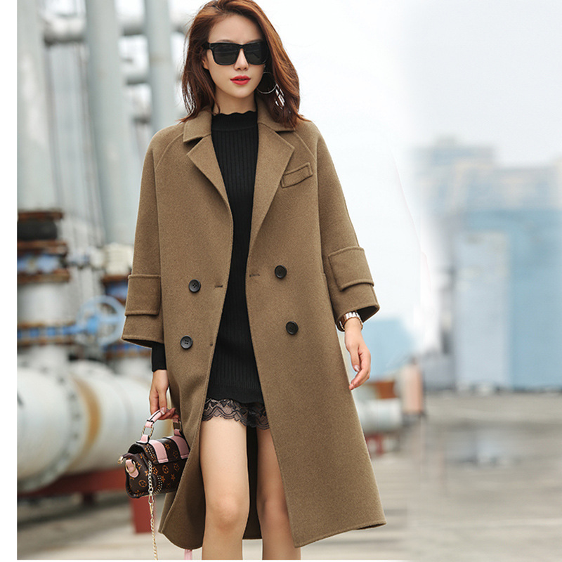 Autumn  Winter New Double Breasted Wool  Lady Coat blktee new golf winter skirts wool thicken thermal short skirt autumn sportswear white navy stripped bright 2 colors s xl lady