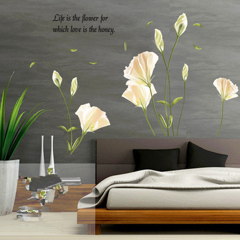 Wall Sticker Elegant Lily Flowers On The Wall Stickers Home Decor Bedroom Backdrop Wall Decals Hot LXY9 in Wall Stickers from Home Garden
