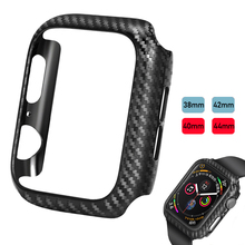 Laforuta Carbon Fiber Pattern Case For Apple Watch 5 4 iWatch Series 3 Cover Ultra Thin Bumper 40mm 44mm 38mm 42mm Shell