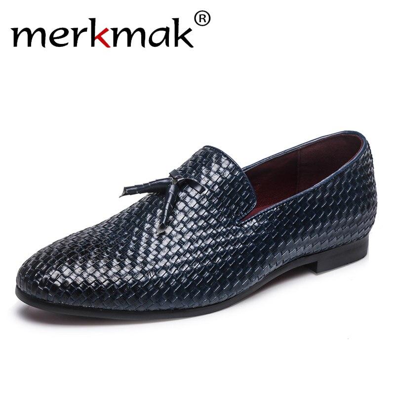 Merkmak Marke Männer Schuhe 2018 Neue Atmungs Bequemen Männer Müßiggänger luxus Quaste Webart männer Wohnungen Männer Casual Schuhe Große Größe 48