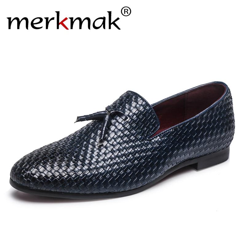 Merkmak Brand Men Shoes 2018 New Breathable Comfortable Men Loafers Luxury Tassel Weave Men's Flats Men Casual Shoes Big Size 48