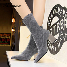 MAIERNISI Women Mid-Calf Sock Boots 2019 Fashion Spring Autumn Stretch Boots Chunky High Heels Pointed Toe Ladies Shoes цены онлайн
