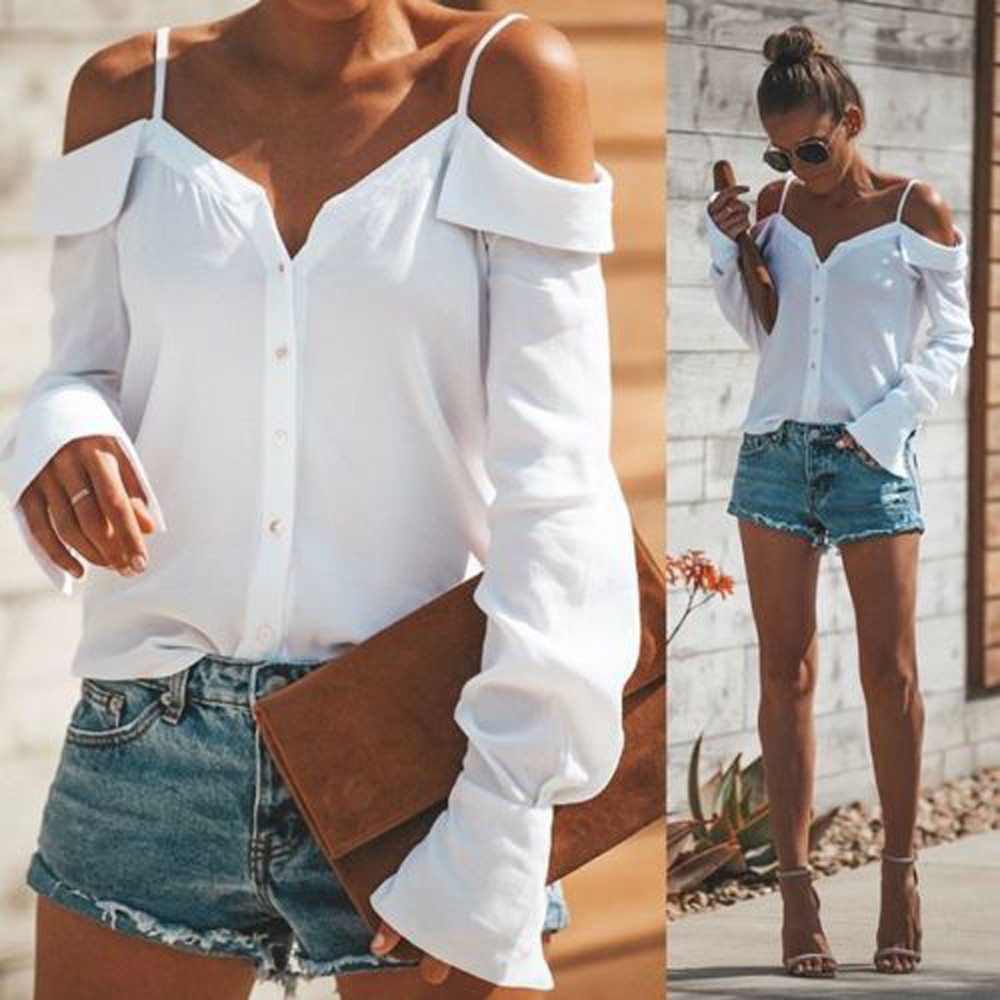 Women Off Shoulder V-Neck Long Sleeves Pure color Tops Loose   Blouse     Shirt   One-shoulder V-neck long-sleeved solid color sling shi