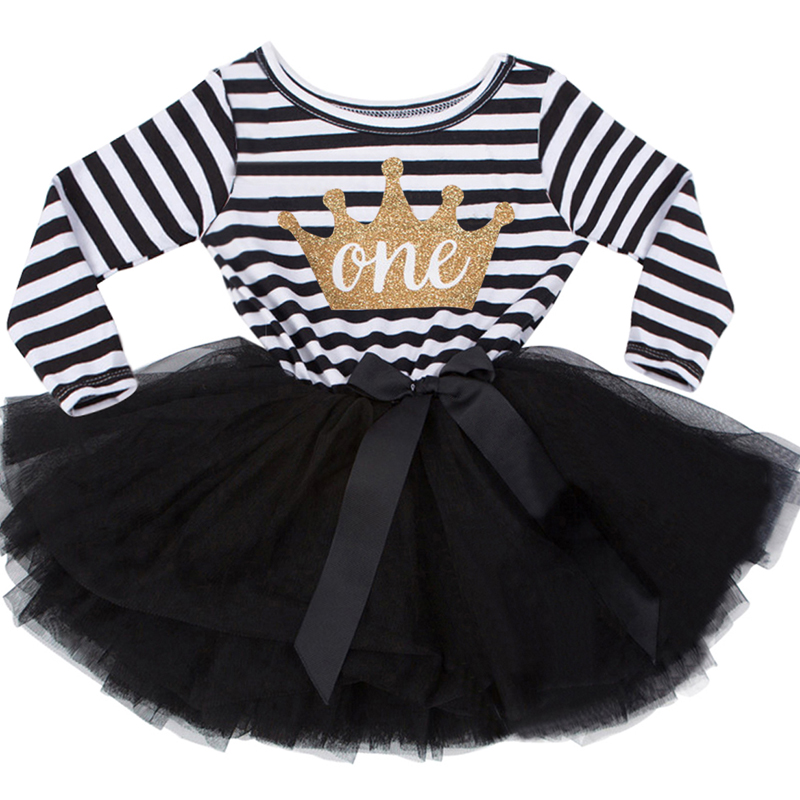 New Fashion Cute Newborn Dress For Christening Striped Crown Pattern One Two Year Birthday Pageant Wedding Baptism Gowns Dresses
