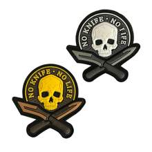 Morale Patches ไม่มีมีดไม่มี Life SKULL PVC 3D ทหารยุทธวิธี Patch Badge applique สัญลักษณ(China)