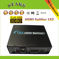 1080P 2 Port HDMI Splitter 1 In 2 Out 1x2 HDMI Switcher With Power Adapter Converter