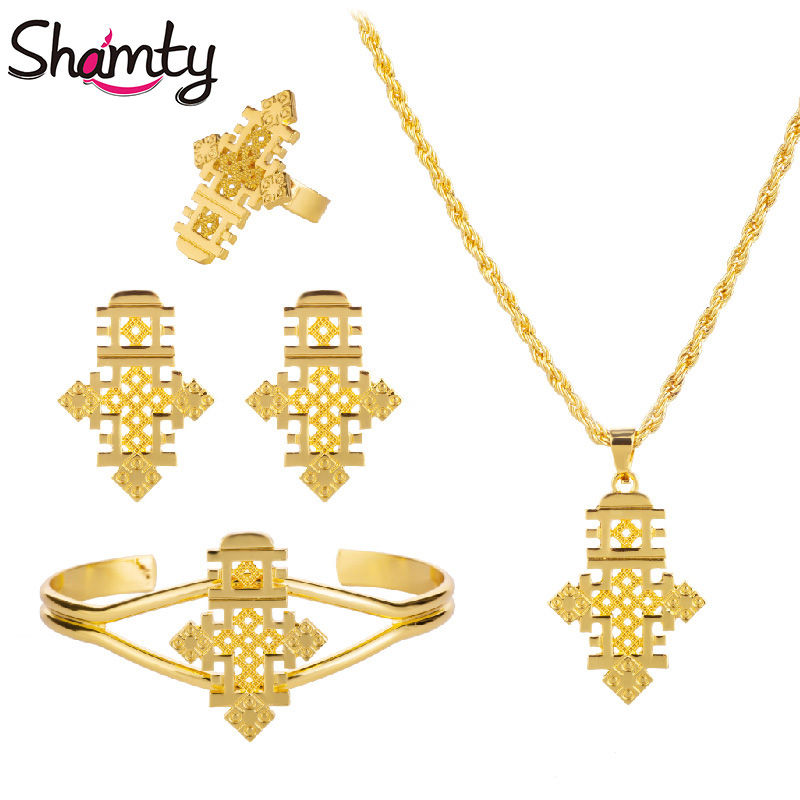 Shamty HOT Set di gioielli etiopici Croci copte Pure Gold Colore Argento Set di colori Nigeria Eritrea Kenya Habesha stile A30005