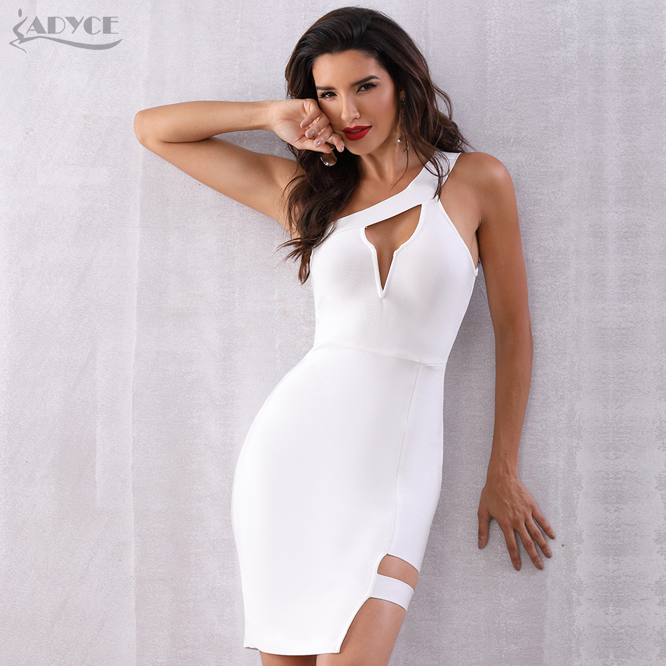 ADYCE Bandage Dresses Women 2019 Summer New Arrival Sexy White One Shoulder Hollow Out Celebrity Runway Club Party Dress Vestido