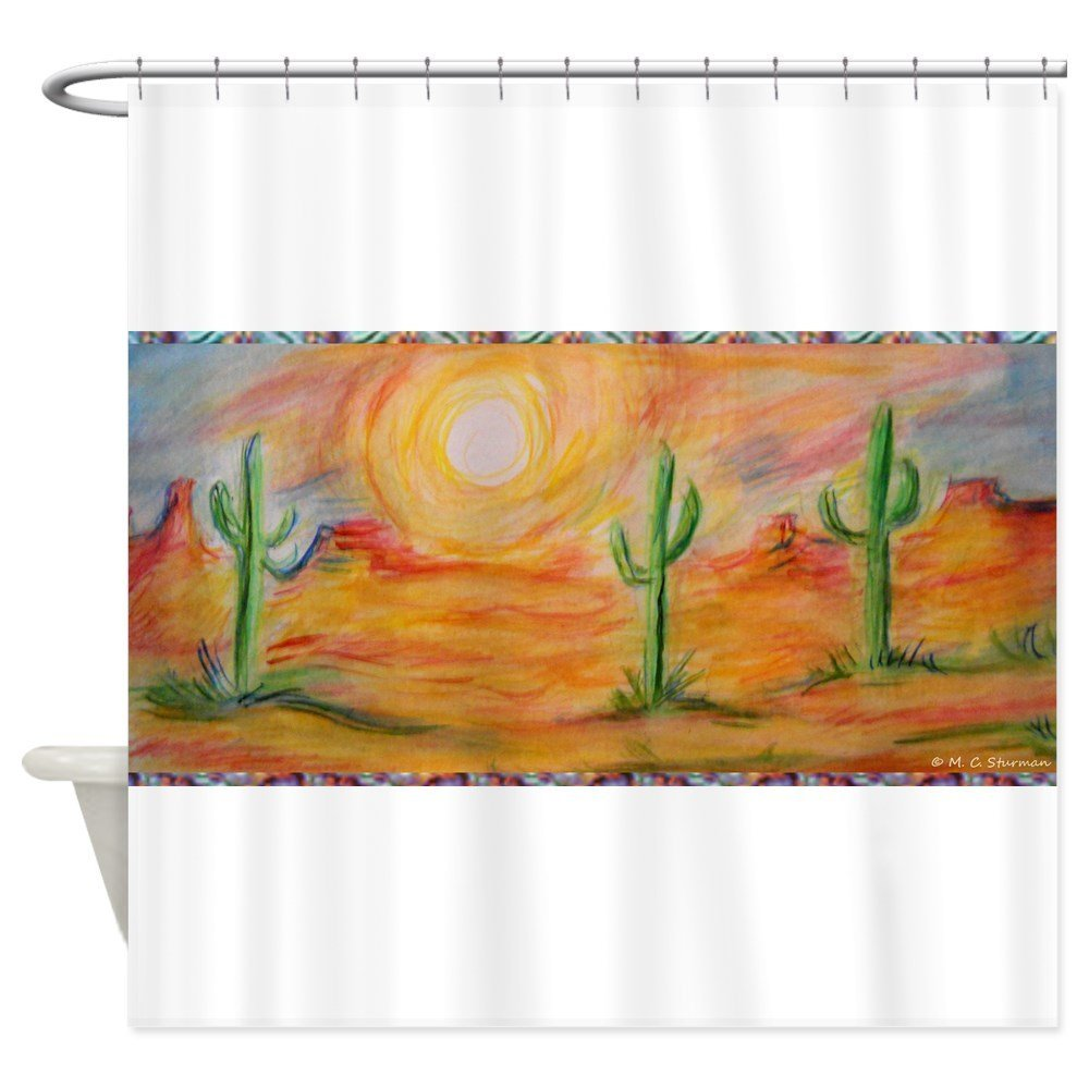 Desert, Scenic Southwest Landscape! Decorative Fabric Shower Curtain Set House Doormats for Living Room Anti-Slip Rug