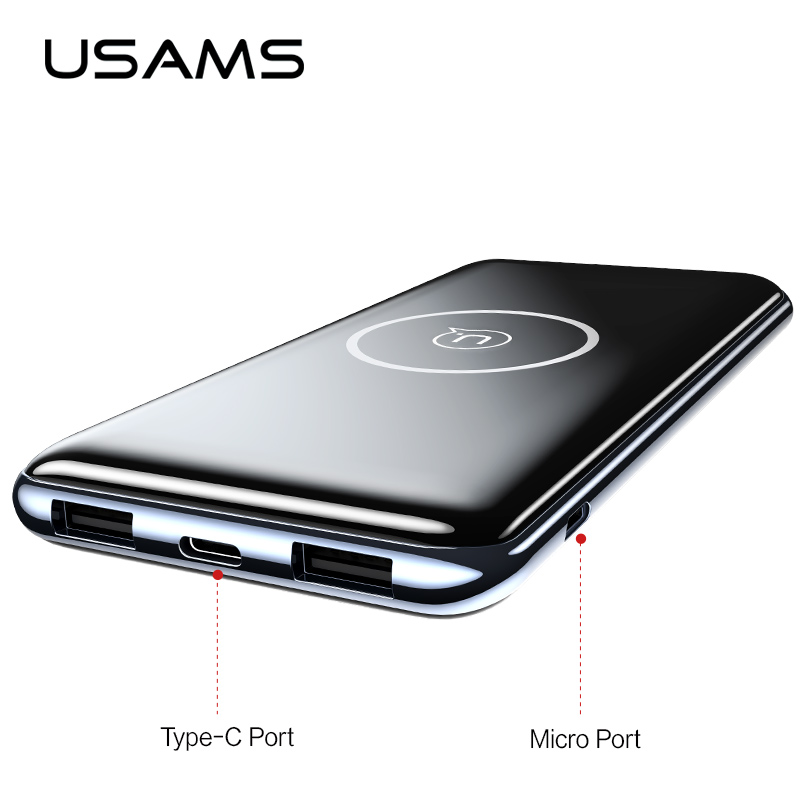 Double Ports USB 10000 mah Puissance Banque, USAMS QI Sans Fil Chargeur Pad Banque de Puissance Intégré Sans Fil De Charge Universelle PowerBank