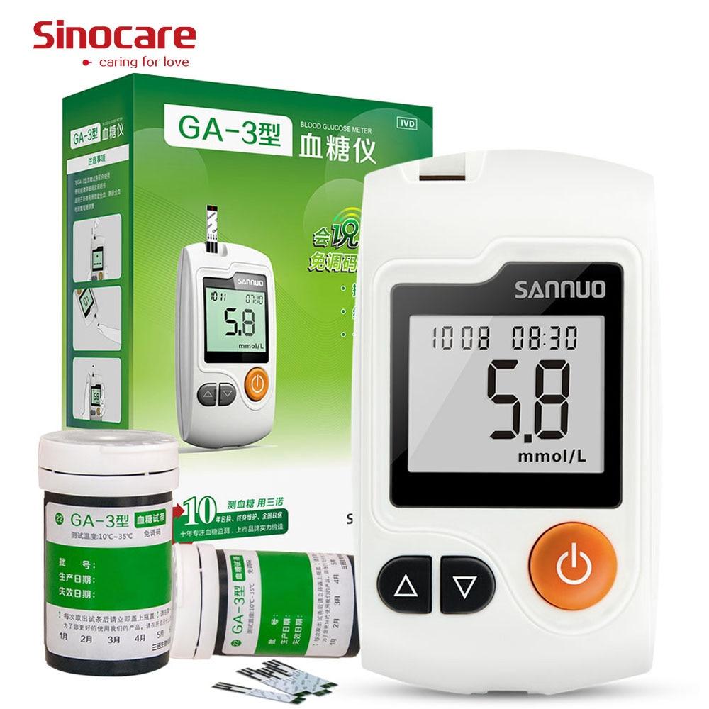Inglese Guida Sinocare Sannuo GA-3 Misuratore di Glucosio Nel Sangue GLU 50 Fiala Strisce Reattive 50 Lancette di Zucchero Nel Sangue Tester Diabete Glucometro