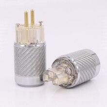 Um par Hi-End De Fibra De Carbono Banhado A Ouro padrão Europeu AC Power Plug IEC Plugue Fêmea