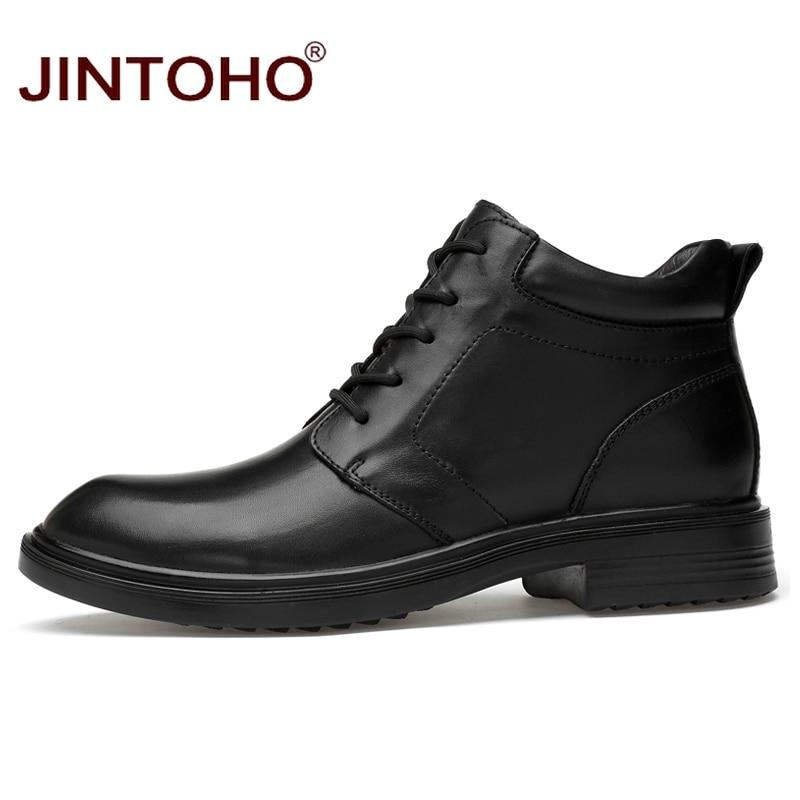 Ayakk.'ten Basic Çizmeler'de JINTOHO erkekler hakiki deri çizmeler büyük boy erkek ayak bileği deri çizmeler kış erkekler hakiki deri ayakkabı kışlık botlar Bota Masculina'da  Grup 3