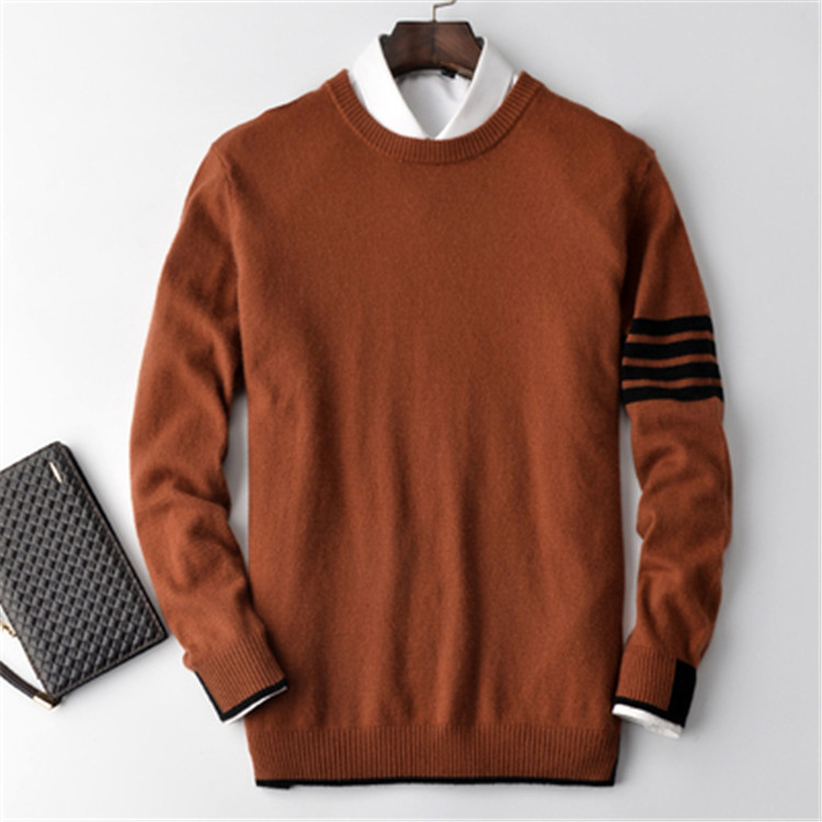 100%cashmere Solid Knit Men Fashion Oneck H-straight Pullover Sweater 4color S-2XL Retail Wholesale