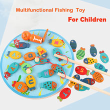 Magnetic Wooden Fishing Game Toy For Toddlers Colorful Alphabet Fish Catching Counting Board Children Game Toys Gift For Kids(China)