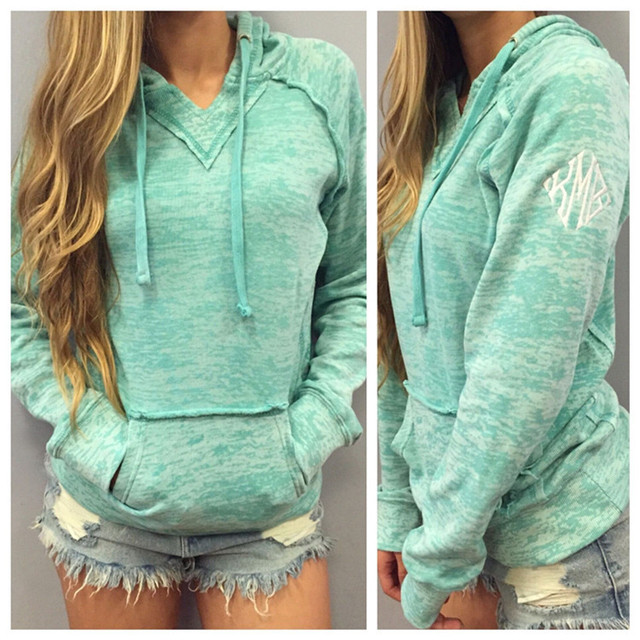 c5b8981809d0 2016 fashion design Hoodie hooded long sleeve pocket for women fleece light  blue and navy color size S-XL