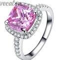 Vecalon мода кольцо Подушка cut 3ct Розовый Cz бриллиантовое Обручальное обручальное кольцо для женщин Стерлингового Серебра 925 Палец кольцо R357