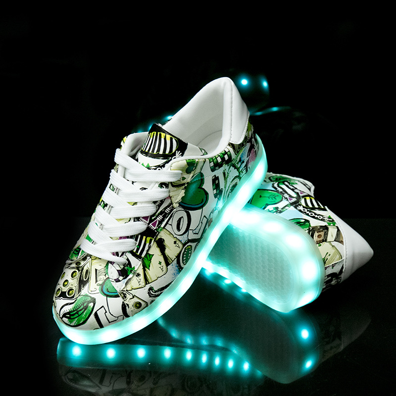 Image 4 - Size 27 42 LED Shoes Luminous Sneakers Light Shoes Glowing Sneakers with Luminous Sole Basket for Boys&Girls Kids Feminino TenisSneakers   -