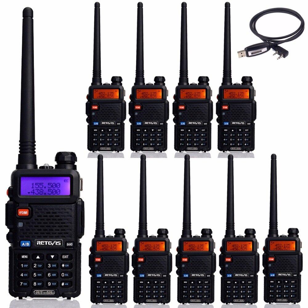 imágenes para 10 unids Retevis RT 5R Walkie Talkie 128CH UHF + VHF HF Transceptor de Radio cb Radio Portátil de Handy Comunicador A7105A