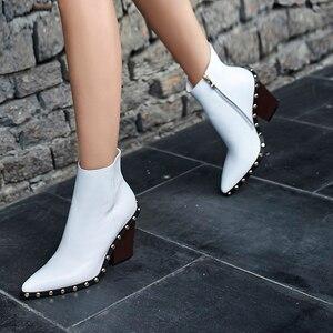 Image 5 - أحذية بوت نسائية من الجلد الطبيعي ماركة ويتكيس بكعب عالٍ سميك بسحاب عند الكاحل للسيدات لربيع 2019