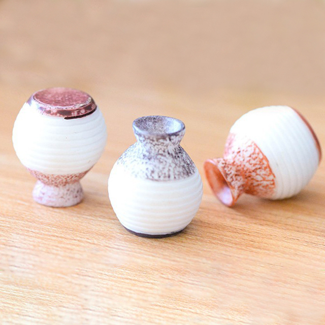 3pcs/Set Narrow- necked Bottles Vintage House Miniature Mini Vase Craft Fairy Garden Micro Landscape Decor Home Accessory 2
