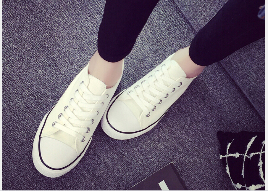 Women Canvas Breathable Shoes Anti-Slip Classic Fashion White Lace-Up Flats Summer Spring And Autumn Style blue and white canvas anti static shoes esd clean shoes pharmaceutical shoes work shoes add cotton