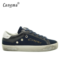 CANGMA British Style Men Shoes Navy Blue Genuine Leather Suede Shoes High Quality Man Casual Mens