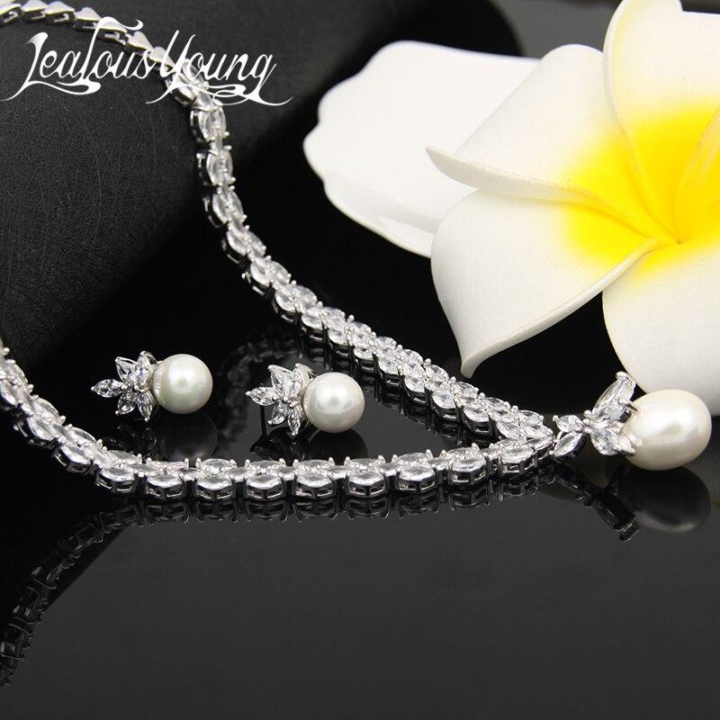 Élégant simulé perle bijoux de mariée ensembles de bijoux de mariage feuille cristal colliers boucles d'oreilles ensembles de bijoux pour les femmes AS087 - 4