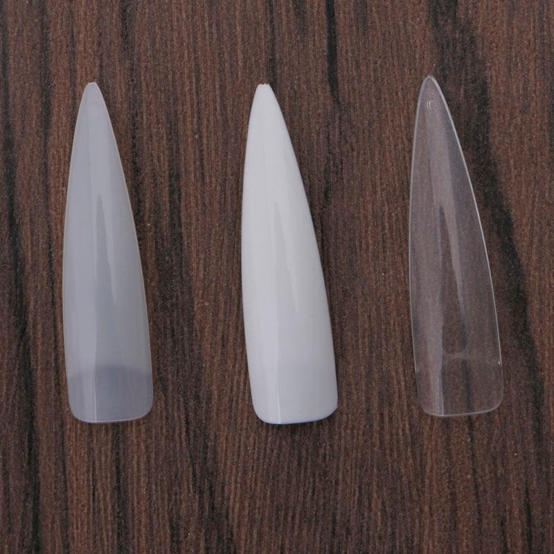 500 Pcs Sharp Long False Nail Art Tips Acrylic Salon White Natural Clear Durable Transparent/White/Natural стоимость