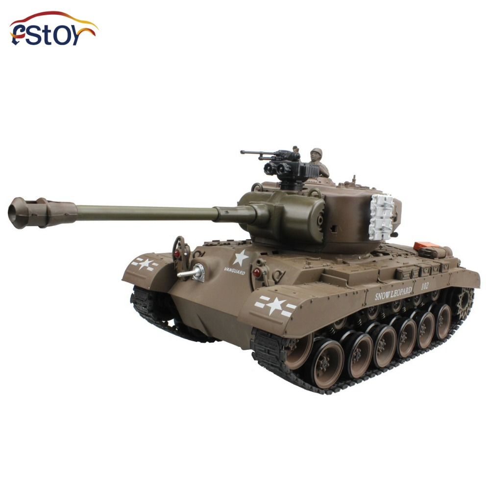 RC Tank US M26 15 Channel 1/20 Pershing Snow Leopard Main Battle Tank Model With Shoot Bullet Sound Recoil Electronic Hobby Toys