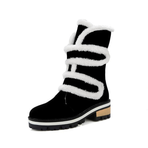Shoes Woman New Mid Calf Boots Warm Winter Shoes Female Boots Fashion Casual Shoes 2019 DA190