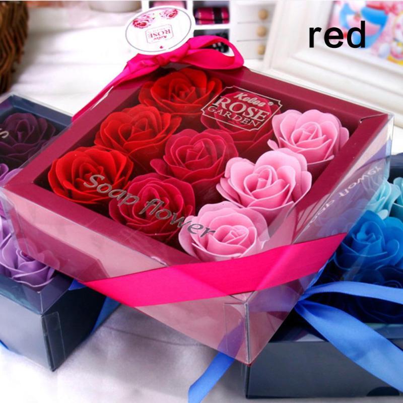 9 stks / doos Kleurrijke Hartvormige Rose Zeep Bloem Romantische - Feestversiering en feestartikelen - Foto 3