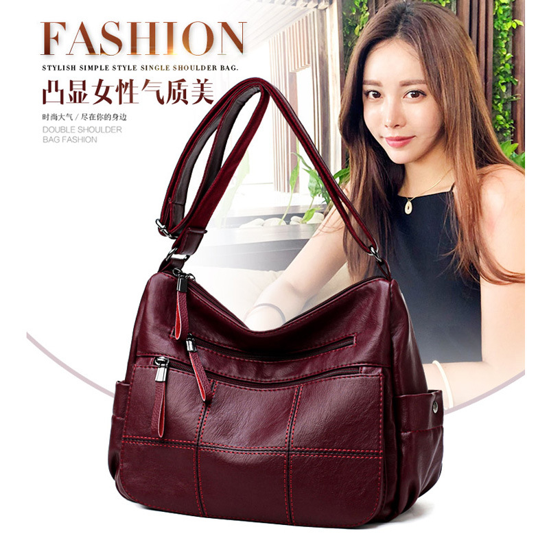 Fashion Women's Genuine Leather Handbags Mummy Bag Casual Shoulder Chain Bags Ladies Crossbody Bags Vintage Messenger Bags N365