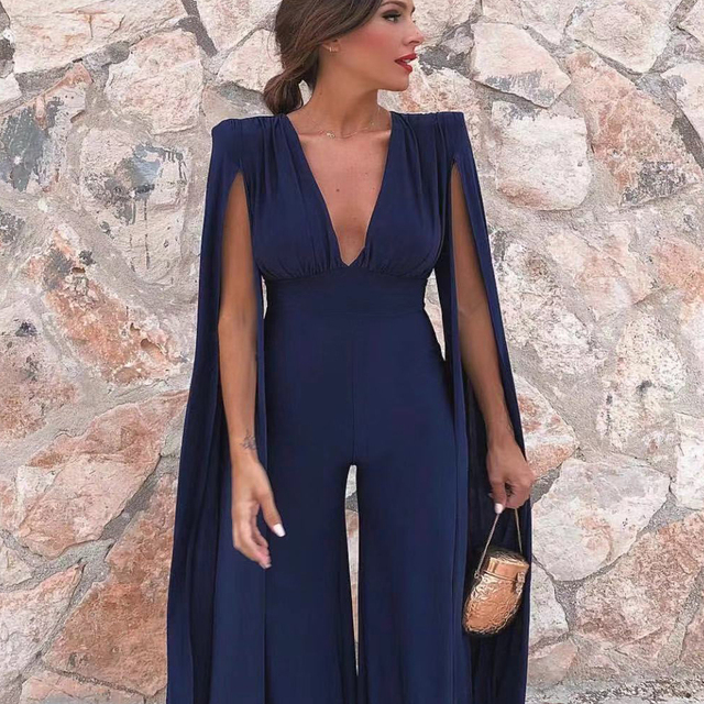 Missord 2019 New Summer  Sexy Deep V Bodysuits Elegant Rompers Chiffon Long Sleeve Backless Sexy Bodycon  Jumpsuit FT18846