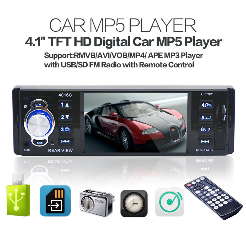 7 inch 2 din car audio mp5 player universal hd bluetooth radio usb tf sd card fm aux input rear view camera input interface 4.1 Inch TFT HD Car MP5 Player Rear View Camera 12V FM Radio /Charger /MP3 /MP4 /Audio /Video /USB /SD/AUX 1 DIN