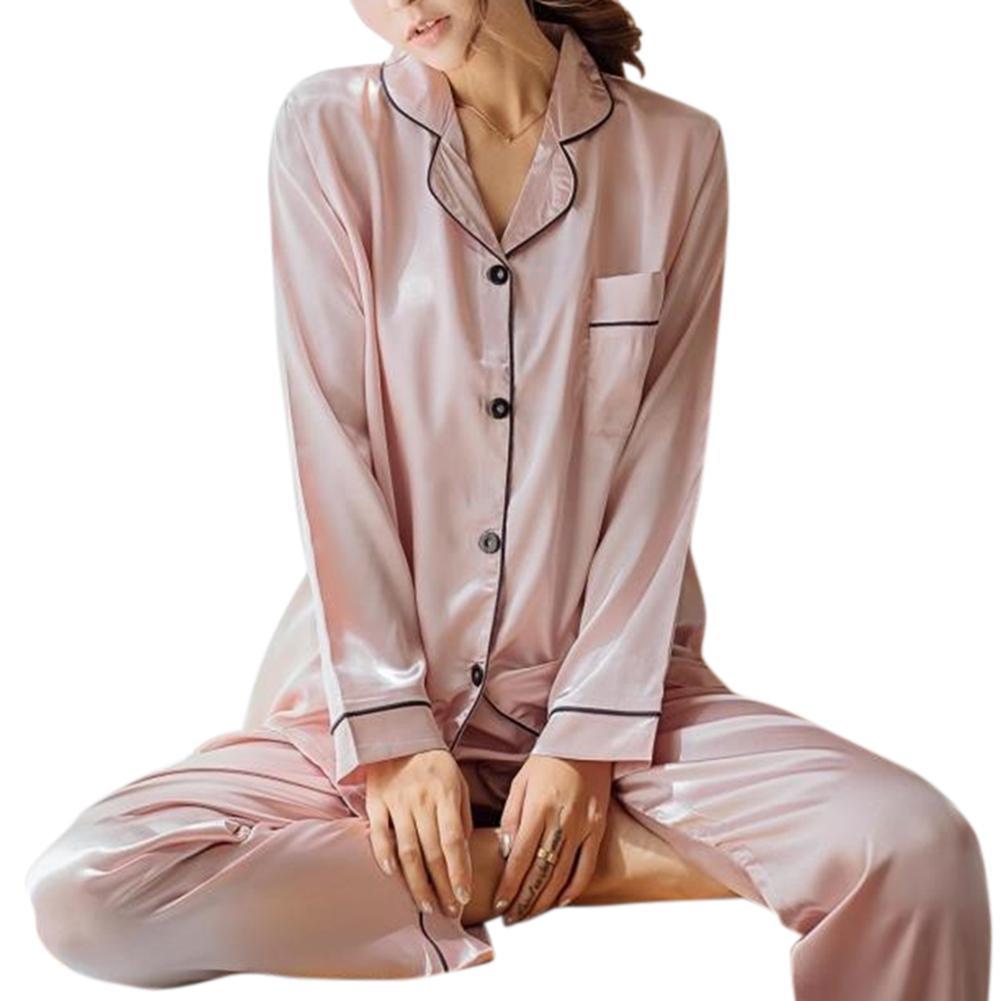 MISSKY Women Solid Color Home Wear Long Sleeve Pajamas Set Long-sleeve Tops + Long Pants Homewear Gift