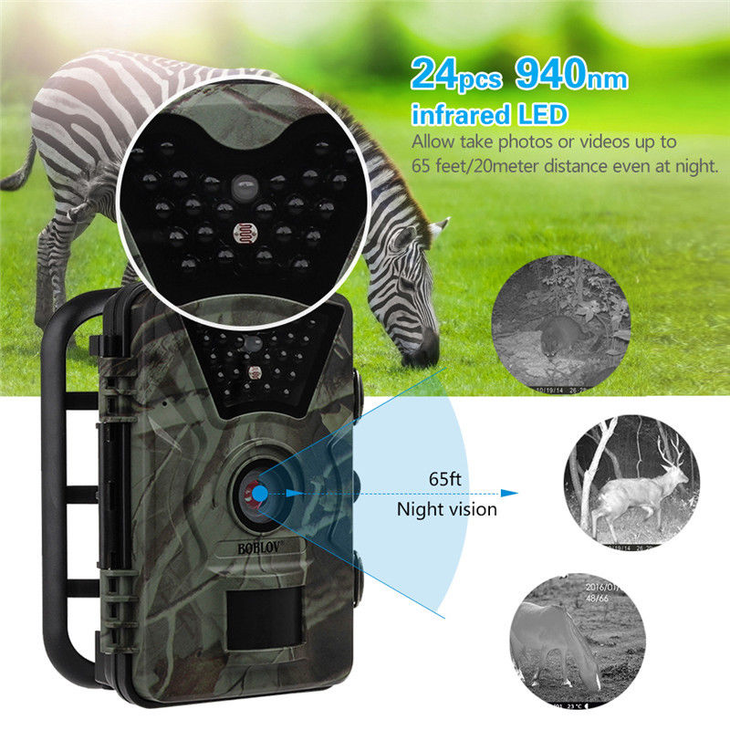 "Image 2 - Boblov CT008 Trail Game Scounting Hunting Wildlife Camera 2.4"" LCD Night Vision Digital Surveillance Photo Trap 24pcs LEDs Cam-in Hunting Cameras from Sports & Entertainment"