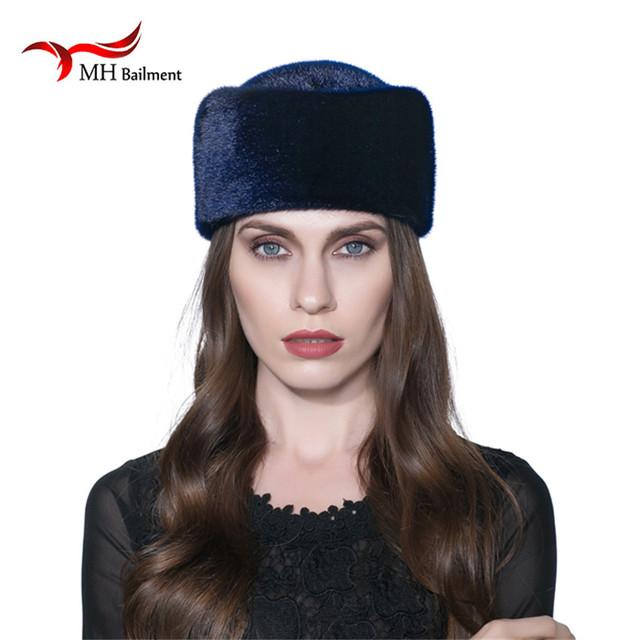 Sombreros de visón entero importado pieles de visón Real sombrero de piel de lujo de alta gama femenina natural cap sombreros de piel de señora caliente del invierno de cap W #07